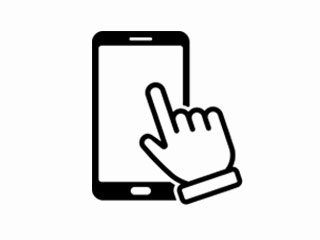 Illustration of a mobile phone with a hand tapping the screen